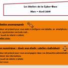 Les Ateliers de la Cyber-Base de mars à avril 2019
