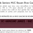 Programme des activités du club seniors de l'association Rouen Cité Jeunes de janvier à mars
